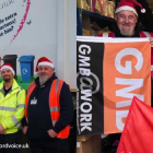 GMB trade union bin men help collect presents for donation