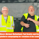 GMB trade union members campaiging at Harland Wolff shipyard