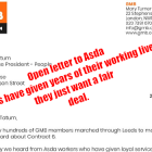 GMB UNION OPEN LETTER TO ASDA