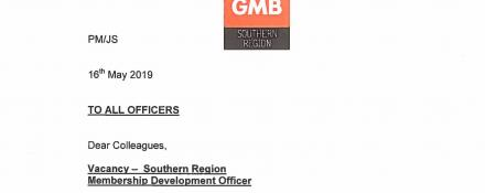 A vacancy has arisen in the GMB Southern Region for a Membership Development Officer