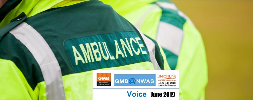 GMB Ambulance trade union VOICE news June 2019