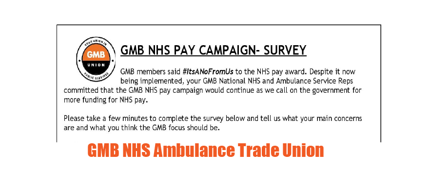 GMB Ambulance trade union survey