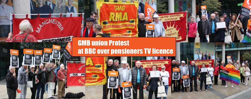 GMB union protest at BBC over pensioner TV licence