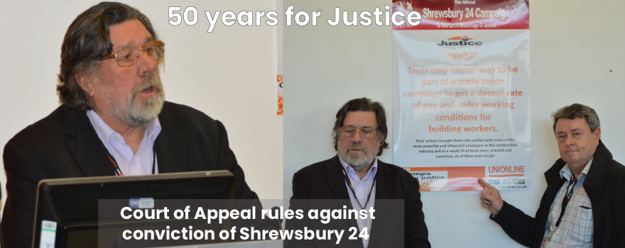 GMB union supports Shrewsbury 24 campaign for justice
