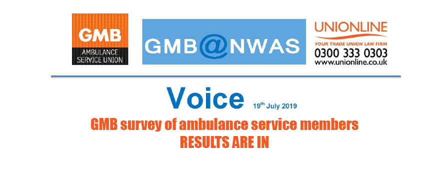 Results are in for the GMB union survey of ambulance service