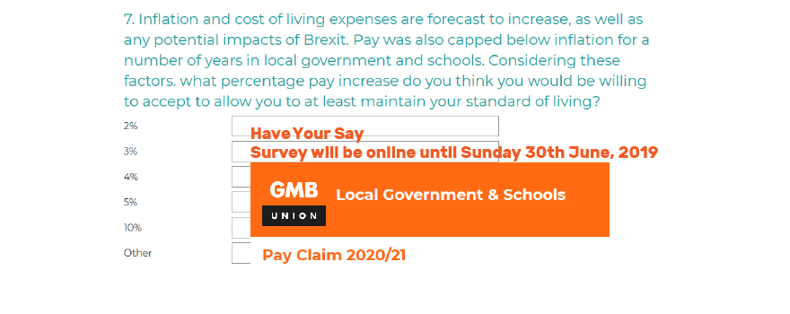 GMB trade union Public Sector Pay Survey
