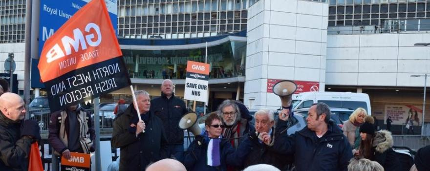 GMB trade unuion protest over pay at Royal Liverpool Hospital