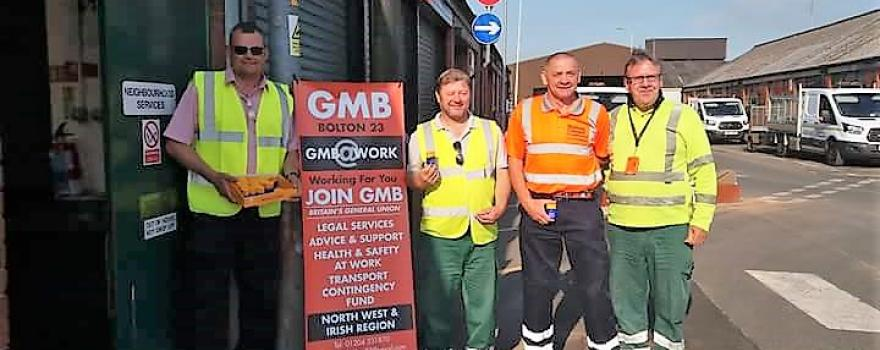 GMB trade union supply members with sunblock