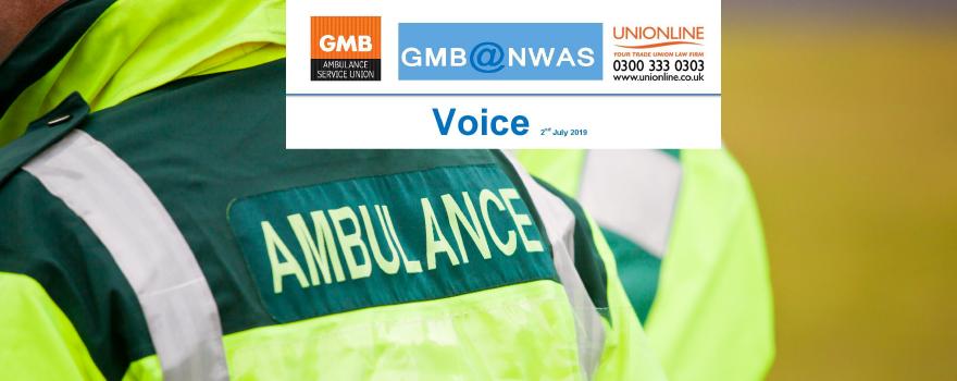 GMB Paramedic union news update VOICE July 2019
