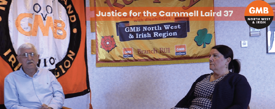 GMB union Justice campaign for Cammell Laird 37 with Giovanna Holt