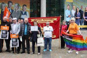 GMB trade union protest at BBC Salford