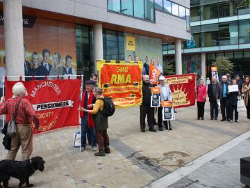 GMB union members protest at BBC Salford